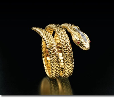 Philip Warner Bespoke Luxury Goods - Gold Snake Bracelet